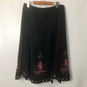 Nygärd Collection black wool embroidered skirt SzM